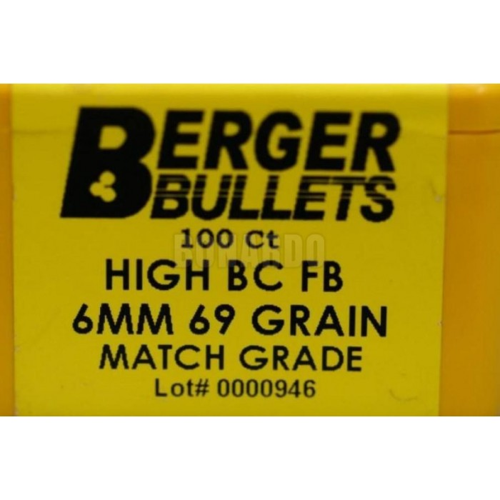 BERGER PALLA CAL 6mm 69 GRS HIGH BC FB CONF. 100 - Bonardo