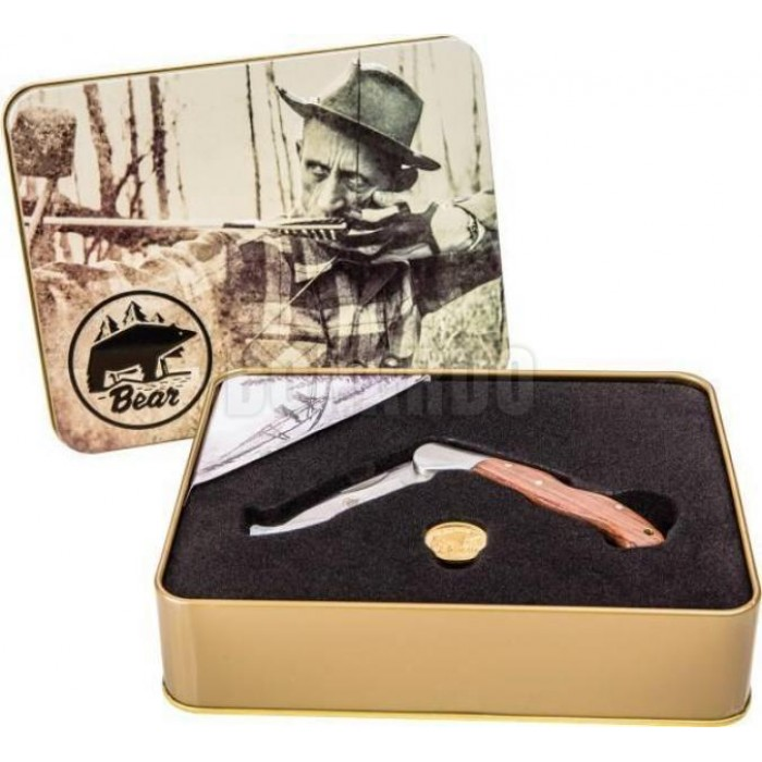 FRED BEAR KNIFE & TIN SET COLTELLO IN SCATOLA COMMEMORATIVO - Bonardo