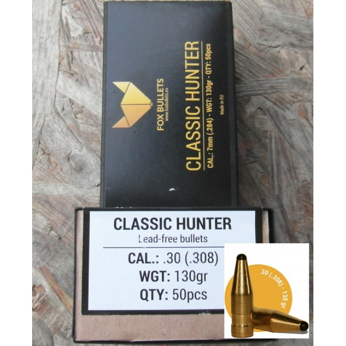FOX BULLETS CLASSIC HUNTER CAL. 30 130GRS LEAD-FREE - Bonardo